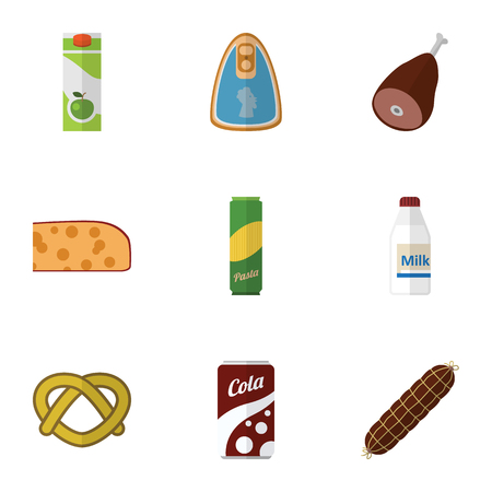 Flat Icon Meal Set Of Meat, Smoked Sausage, Fizzy Drink And Other Vector Objects. Also Includes Biscuit, Bratwurst, Holland Elements.