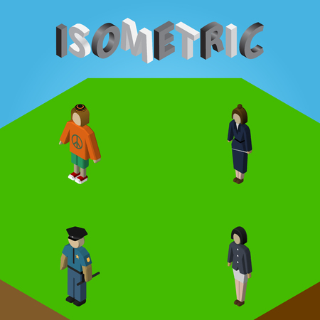 Isometric Human Set Of Girl, Officer, Lady And Other Vector Objects. Also Includes Policeman, Guy, Officer Elements.