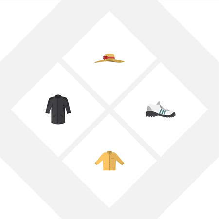 Flat Icon Garment Set Of Banyan, Elegant Headgear, Sneakers And Other Vector Objects. Also Includes Hat, Sneakers, Man Elements.