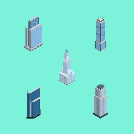 Isometric Construction Set Of Apartment, Cityscape, Residential And Other Vector Objects. Also Includes Skyscraper, Urban, Apartment Elements. Illustration