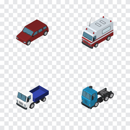 Isometric Transport Set Of First-Aid, Lorry, Car And Other Vector Objects. Also Includes Truck, Sedan, Lorry Elements.