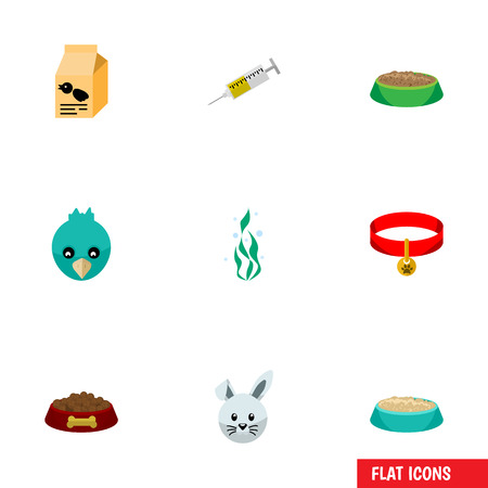 Flat Icon Animal Set Of Vaccine, Bunny, Feeding And Other Vector Objects. Also Includes Plant, Box, Sparrow Elements.