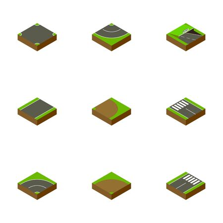 Isometric Road Set Of Footer, Underground, Strip And Other Vector Objects. Also Includes Rotation, Subway, Turn Elements. Illustration