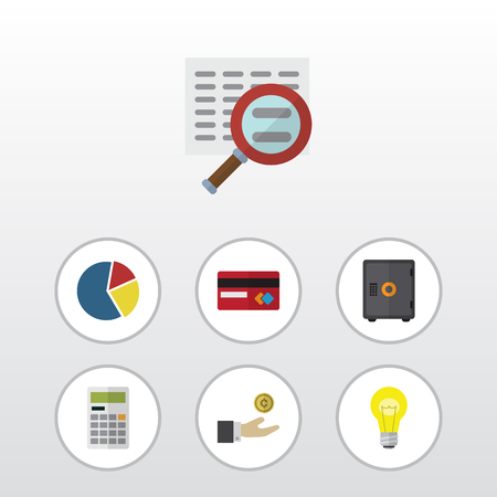 Flat Icon Incoming Set Of Calculate, Hand With Coin, Payment Vector Objects. Also Includes Magnifier, Mastercard, Light Elements.