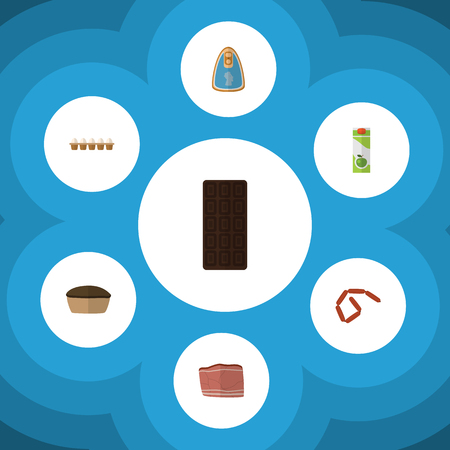 Flat Icon Meal Set Of Beef, Canned Chicken, Tart And Other Vector Objects. Also Includes Eggshell, Box, Pie Elements.