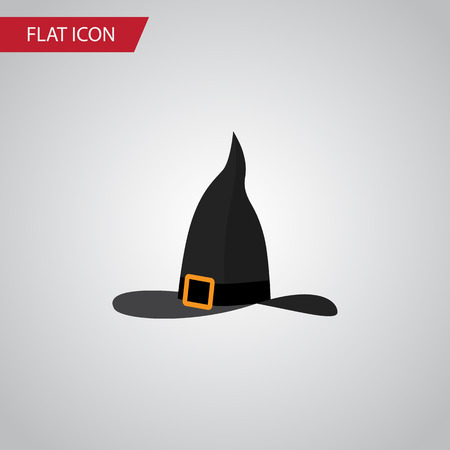 Isolated Wizard Hat Flat Icon. Witch Cap Vector Element Can Be Used For Wizard, Witch, Hat Design Concept. Illustration