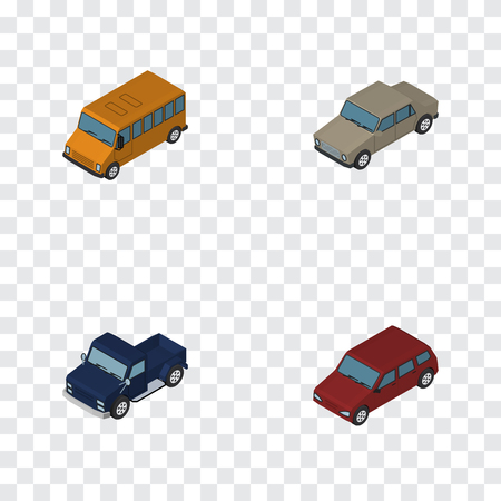 Isometric Transport Set Of Autobus, Auto, Suv And Other Vector Objects. Also Includes Car, Drive, Pickup Elements.