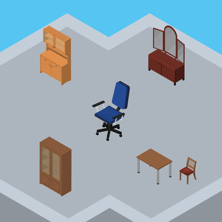 Isometric Furnishing Set Of Drawer, Office, Chair And Other Vector Objects. Also Includes Furniture, Table, Mirror Elements.