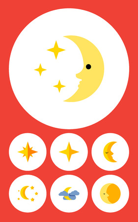 moonshine: Flat Icon Bedtime Set Of Bedtime, Lunar, Midnight And Other Vector Objects. Also Includes Night, Lunar, Asterisk Elements.