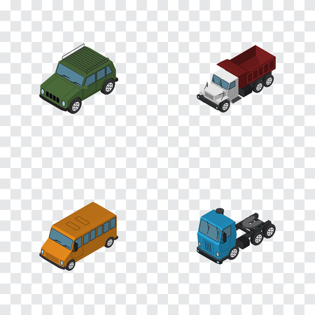 Isometric Automobile Set Of Truck, Autobus, Armored And Other Vector Objects. Also Includes Auto, Motor, Car Elements.