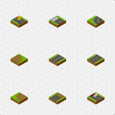 Isometric Way Set Of Rotation, Plane, Turning And Other Vector Objects. Also Includes Repairs, Single, Plane Elements. Illustration