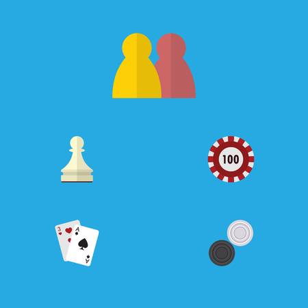 Flat Icon Games Set Of Pawn, Poker, Chequer And Other Vector Objects. Also Includes Multiplayer, Cards, Ace Elements.