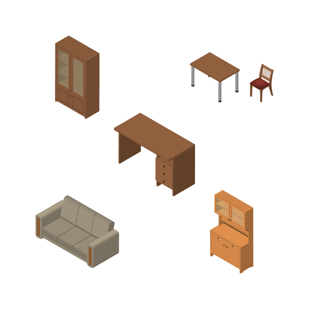 Isometric Furnishing Set Of Cupboard, Cabinet, Couch And Other Vector Objects. Also Includes Table, Cabinet, Closet Elements. Illustration