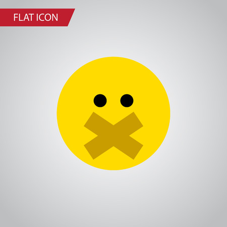 silent: Isolated Silent Flat Icon. Hush Vector Element Can Be Used For Hush, Silent, Smile Design Concept.