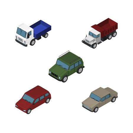 Isometric Automobile Set Of Auto, Armored, Car And Other Vector Objects. Also Includes Sedan, Truck, Drive Elements.