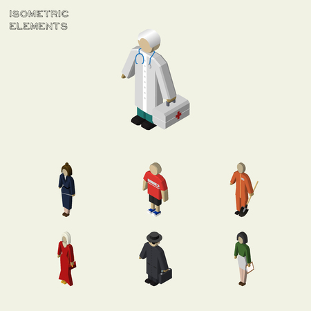 Isometric People Set Of Cleaner, Guy, Detective And Other Vector Objects. Also Includes Detective, Girl, Pedagogue Elements.