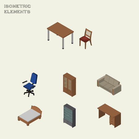 Isometric Furniture Set Of Office, Sideboard, Bedstead And Other Vector Objects. Also Includes Sofa, Bedstead, Sideboard Elements. Illustration