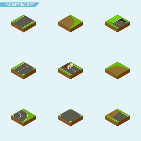 Isometric Road Set Of Asphalt, Crossroad, Down And Other Vector Objects. Also Includes Crossroad, Downward, Incomplete Elements.