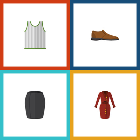 Flat Icon Garment Set Of Stylish Apparel, Male Footware, Clothes And Other Vector Objects. Also Includes Singlet, Woman, Garment Elements.