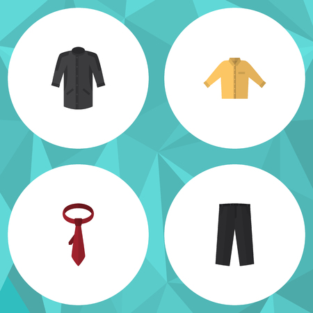 brown shirt: Flat Icon Dress Set Of Cravat, Banyan, Uniform And Other Vector Objects. Also Includes Trousers, Necktie, Tie Elements.
