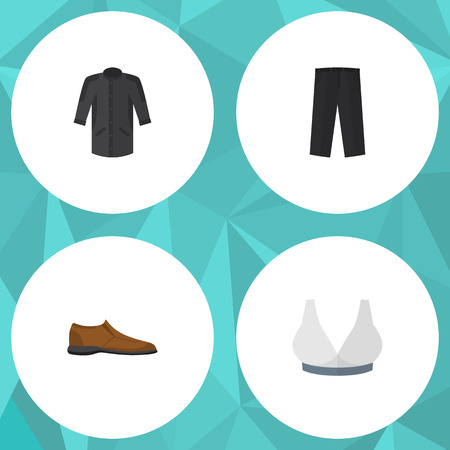 Flat Icon Garment Set Of Uniform, Pants, Male Footware And Other Vector Objects. Also Includes Footware, Kimono, Shoe Elements. Illustration