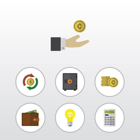 Flat Icon Finance Set Of Bubl, Interchange, Cash And Other Vector Objects. Also Includes Calculator, Safe, Swap Elements.