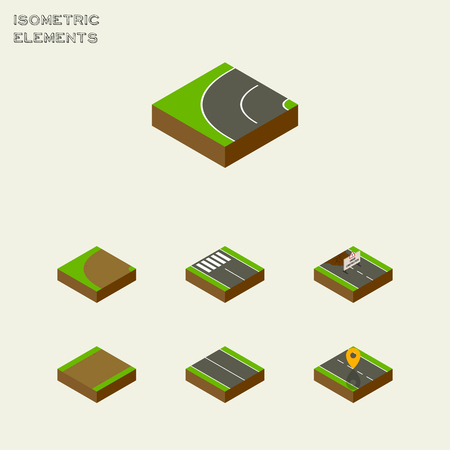 Isometric Way Set Of Flat, Turning, Strip And Other Vector Objects. Also Includes Pedestrian, Navigation, Highway Elements.