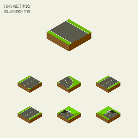 the roadside: Isometric Road Set Of Driveway, Asphalt, Subway And Other Vector Objects. Also Includes Down, Bitumen, Underground Elements.