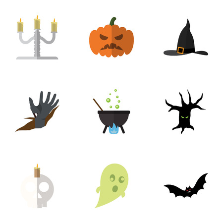 Flat Icon Celebrate Set Of Magic, Terrible Halloween , Candlestick Vector Objects. Also Includes Bat, Gourd, Monster Elements.