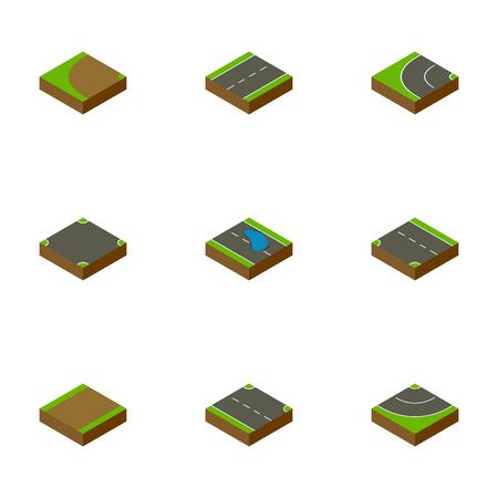 아이소 메트릭 웨이는 아래쪽, 터 닝, Driveway 및 다른 벡터 개체를 설정합니다. 또한 웅덩이, 교차, 단일 요소가 포함됩니다.