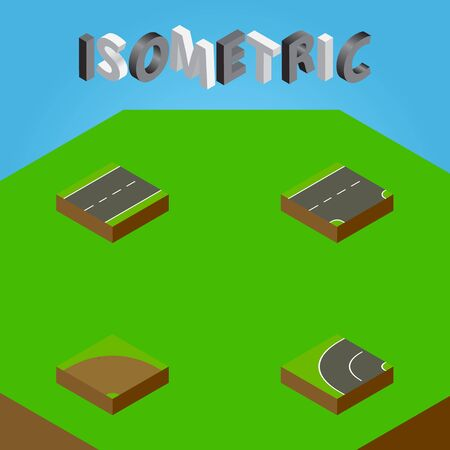 Isometric Way Set Of Driveway, Sand, Way Vector Objects. Also Includes Lane, Turn, Driveway Elements.