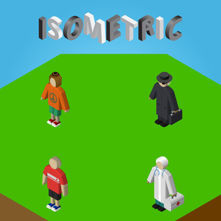 gun control: Isometric People Set Of Lady, Detective, Medic And Other Vector Objects. Also Includes Detective, Doctor, Medic Elements.