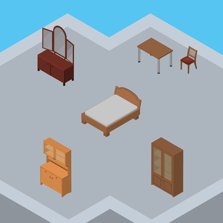 Isometric Furniture Set Of Drawer, Cupboard, Bedstead And Other Vector Objects. Also Includes Wardrobe, Sideboard, Bed Elements. Illustration