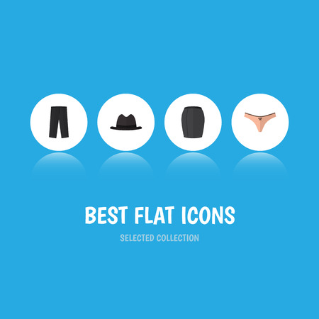 trouser: Flat Icon Clothes Set Of Lingerie, Panama, Stylish Apparel And Other Vector Objects. Also Includes Woman, Panama, Skirt Elements.