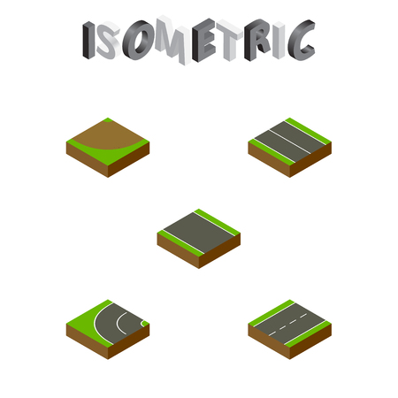 the roadside: Isometric Road Set Of Driveway, Turn, Way And Other Vector Objects. Also Includes Plane, Flat, Bitumen Elements.