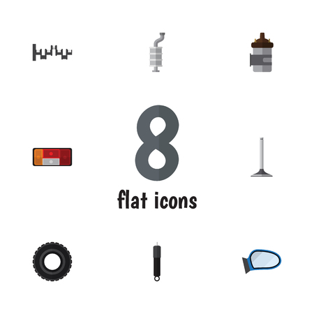 axles: Flat Icon Parts Set Of Steels Shafts, Wheel, Absorber And Other Vector Objects. Also Includes Absorber, Muffler, Engine Elements.