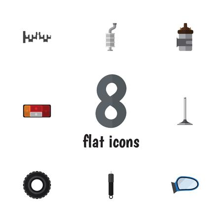 Flat Icon Parts Set Steels Shafts, Wheel, Absorber en andere Vector-objecten. Bevat ook demper, demper, motoronderdelen. Stock Illustratie