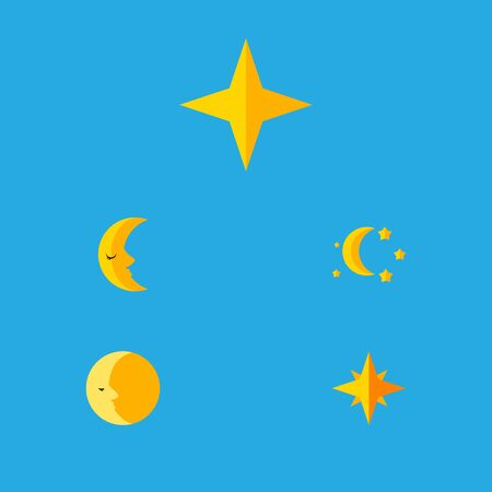 Flat Icon Bedtime Set Of Bedtime, Star, Asterisk And Other Vector Objects. Also Includes Asterisk, Sky, Crescent Elements. Illustration