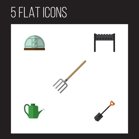 wood burner: Flat Icon Farm Set Of Spade, Bailer, Hay Fork And Other Vector Objects. Also Includes Tool, Bbq, Can Bailer Elements.