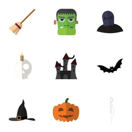 Flat Icon Halloween Set Of Witch Cap, Cranium, Gourd And Other Vector Objects. Also Includes Hat, Candle, Cranium Elements.