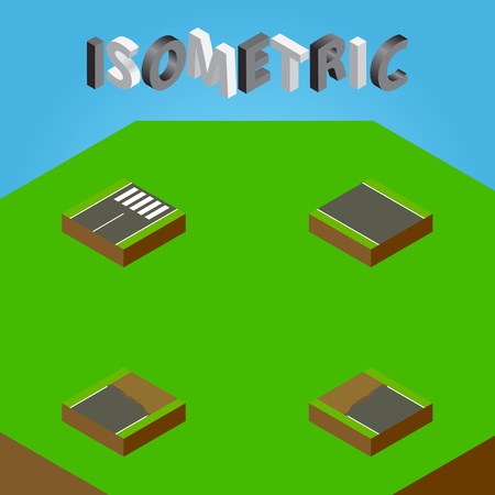 Isometric Road Set Of Incomplete, Unfinished, Footer And Other Vector Objects. Also Includes Unfinished, Strip, Incomplete Elements. Illustration