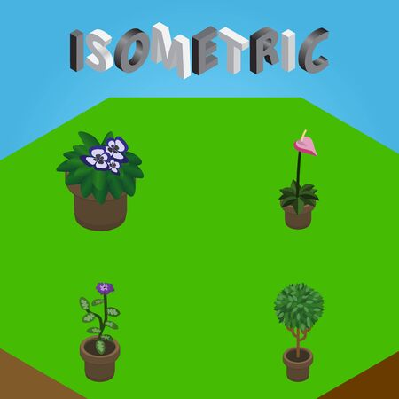 Isometric Flower Set Of Tree, Flower, Grower And Other Vector Objects. Also Includes Flowerpot, Plant, Flower Elements.