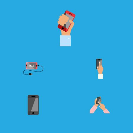 Flat Icon Phone Set Of Telephone, Cellphone, Touchscreen And Other Vector Objects. Also Includes Holding, Phone, Interactive Elements. Illustration