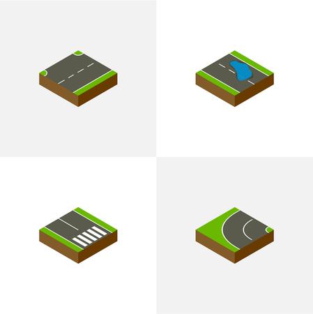 等尺性方法の歩行者、Plash、方法、他のベクトル オブジェクトを設定します。アップ、水たまり、歩道の要素も含まれています。