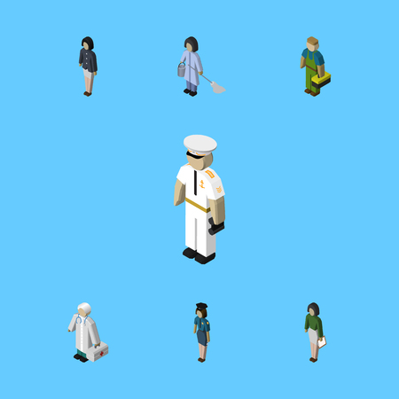 Isometric Person Set Of Pedagogue, Plumber, Housemaid And Other Vector Objects. Also Includes Housemaid, Officer, Seaman Elements. Illustration