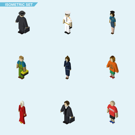 Isometric Human Set Of Seaman, Businesswoman, Female And Other Vector Objects. Also Includes Plumber, Technician, Policewoman Elements.