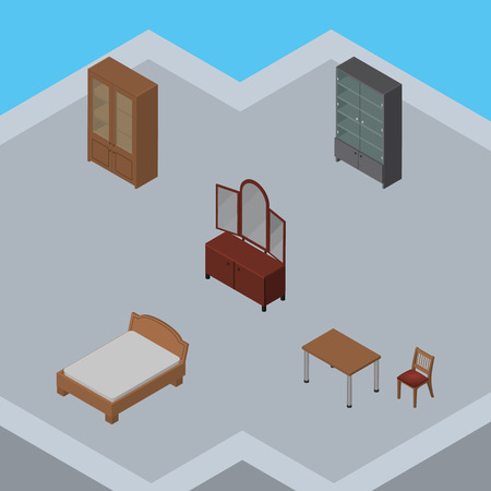 Isometric Furnishing Set Of Chair, Bedstead, Drawer And Other Vector Objects. Also Includes Cabinet, Bedstead, Bed Elements.