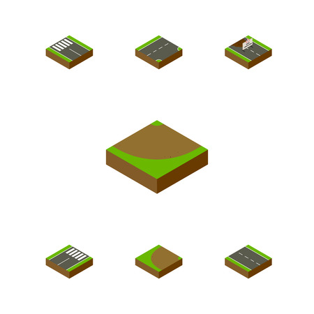 Isometric Way Set Of Turning, Footer, Turn And Other Vector Objects. Also Includes Sand, Rotation, Turn Elements.