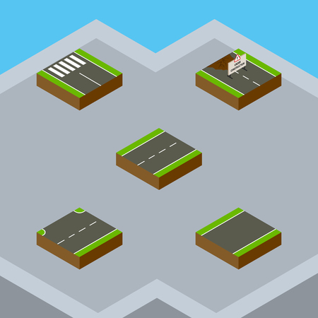 unilateral: Isometric Way Set Of Driveway, Unilateral, Upwards And Other Vector Objects. Also Includes Lane, Construction, Up Elements.