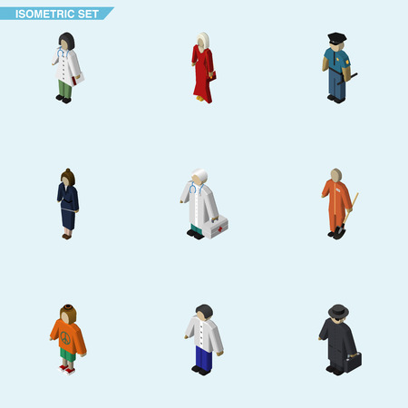 Isometric Human Set Of Lady, Businesswoman, Detective And Other Vector Objects. Also Includes Male, Detective, Man Elements.